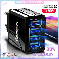 Adapter Fast Charger Kepala 4 Port USB 45W Quick Charge QC 3.0 Plug EU - Hitam