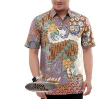 baju kemeja batik pria lengan panjang berlapis furing size M L XL XXL - Abu-abu, M