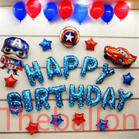 Paket Dekorasi Balon Foil Ulang Tahun Theme Spiderman DLL - Captain America