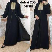 Abaya arab motif saudi gamis hitam dres bordil manual free pasmina ... - Hitam, M
