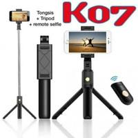 K07 Tripod HP Tongsis Selfie Stick Bluetooth Remote Control Murah