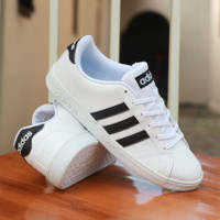 Sepatu Sneakers Pria Original Adidas Neo Baseline Leather White Black