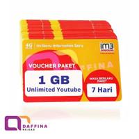 Voucher Data Indosat Unlimited YOUTUBE 1 GB 7 Hari