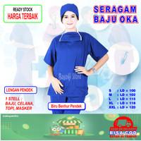 Baju OKA, Baju Perawat , Baju Jaga, Baju OK, Pria Wanita Lengan Pendek - Biru Benhur, S
