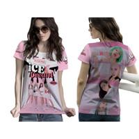 Baju Kaos Tshirt Wanita Blackpink X Selena Gomes Ice Cream Fullprint 1 - Lengan Pendek, S