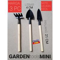 Garden Tools Mini SET 3 Pcs Gagang Kayu Putih