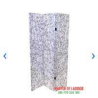 Pembatas Ruangan/Sekat Ruangan/Panel 3 Lipat 180x120x2.5 cm Putih