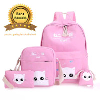 Tas Sekolah Anak Perempuan Model Baby Cat 4in1