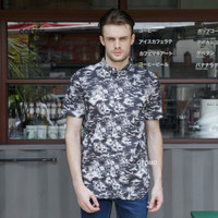 Kemeja H&M Patterned Cotton Shirt Black Hawaii Original HnM Pantai