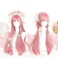 Wig Warna Pink Smooth Rambut Palsu Panjang Lurus Berponi Cosplay R010