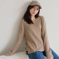 Boxy Viona V-Neck - Atasan Baju Rajut Wanita - Korean Style