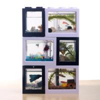 Aquarium Cupang Mini Lego Block 4 Side Windows 8x8x11cm with USB LED