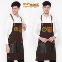 Full apron/Celemek full cotton Coffee & Pu Leather Y strep for barista