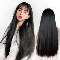 Wig Warna Hitam Rambut Palsu Panjang Lurus Berponi Cosplay R071