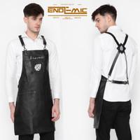 Full apron/celemek Black/hitam pu leather quantum premium for barista