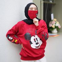 Sweater Mickey Mouse Free Masker Baju Sweatshirt Remaja ABG Perempuan