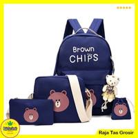 (Free Boneka) Tas Sekolah Anak SD Cowok Cewek - 4 in 1 - Brown Chips