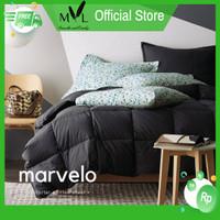 Marvelo Bedcover Sprei Set Katun Polos Warna Hitam Double Bed 120 cm