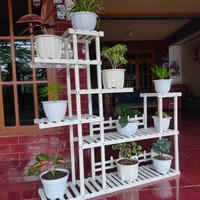 rak bunga standing pot rack plant 6 tingkat kayu solid