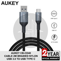 AUKEY CB-CD40 Kabel Data 2M USB Type C Charger Fast Charging Samsung