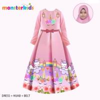 Gamis Anak /Dress Anak / Baju Muslim Anak MonsterKids - Unicorn Pink