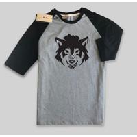 Baju Kaos Raglan desain Wolf serigala fox