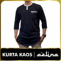 ZAGY atasan kurta kaos gamis muslim baju pria model baru M L XL XXL - Hitam, M