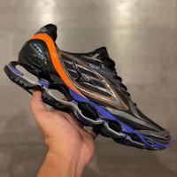 Sepatu Volly Mizuno Wave Prophecy 6 Black Blue Orange