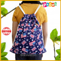 Tas Backpack Serut String Bag Rangsel Kanvas Sekolah Anak Pria Wanita