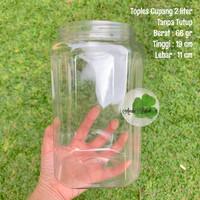toples cupang 2 liter toples plastik 2 liter murah tebal - Tanpa tutup, Packing plastik