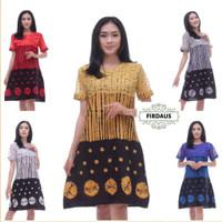 Dress Brokat Salur Jumputan Batik Etnik Modern Baju Pergi Pesta Kerja