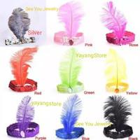 Hiasan Rambut Bulu Headband Bando Bandana Ikat Kepala Bulu Pesta
