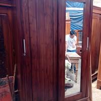 lemari pakaian 2 pintu sliding jati asli