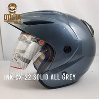 Helm Half Face Ink Cx-22 Solid All Grey Abu Abu Polos Glossy Gloss - L