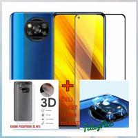 TEMPERED GLASS POCO X3 NFC FULL COVER 9D + ANTI GORES KAMERA + GARSKIN