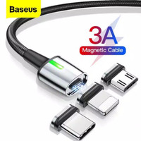 BASEUS ZINC MAGNETIC 3IN1 2M CABLE USB FOR MICRO TYPE C IPHONE USB LED