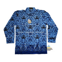 Baju Kemeja Batik Seragam Korpri Pria Laki PNS Guru Dinas Kantor Asn - Biru, S