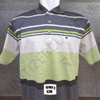 BALOK BXL- 21 (XL) - Kaos Polo Shirt Salur Pria Saku / Wangki Kerah - Abu-abu, XL