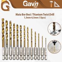 Mata Bor Besi Baja Set 13pcs HSS Titanium Power Drill Steel Hex Shank