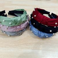 Bando Korea Mutiara Pita Simpul Pearl Hairband Premium Impor