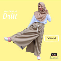 Rok Celana Muslim Kulot Rickyrieez Drill Coklat Susu Khaki Terlaris - L