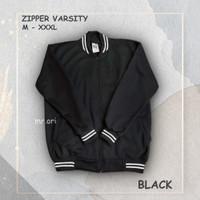 Jaket Varsity Baseball Pria Wanita BLACK M - XXXL BEST SELLER
