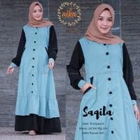 Gamis Maxi Dress Saqila Bahan Wolfis Premium Original by Aika