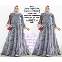 WNX - Maxi Manisha Sj 3XL / Baju Gamis Brukat Wanita / Cod / bisa Baya - Hitam