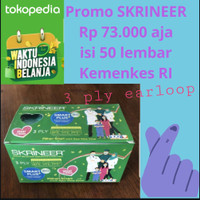 Kartonan Masker Skrineer Smart Plus Earloop Green 3 ply isi 50 pcs/box