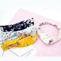 Bandana simpul bando rajut korea bandana wanita motif sakura - Kuning