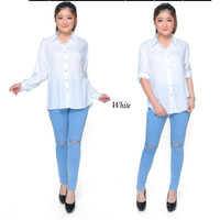 Atasan Kemeja Wanita Rayon Basic Polos Warna Putih Fit To S - M