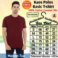Kaos Oblong Pria Polos Lengan Pendek Cotton Combed 30s All Size S-4XL