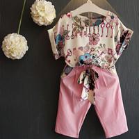 Baju Anak Perempuan Setelan Import Korean Floral Print Short Sleeve