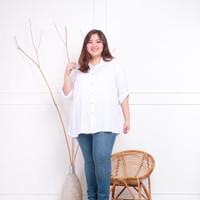 Atasan Kemeja Wanita Rayon Basic Polos Warna Putih Fit To XXL